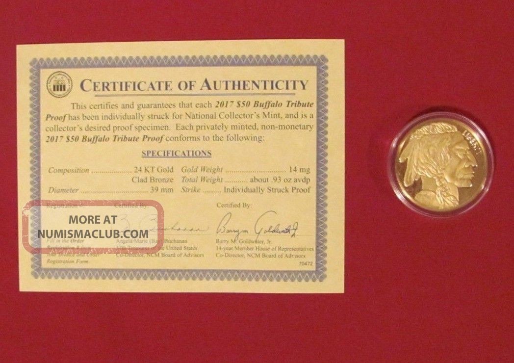 2017 24k Gold 50 Buffalo Proof Coin With Certificate Of Authenticity
