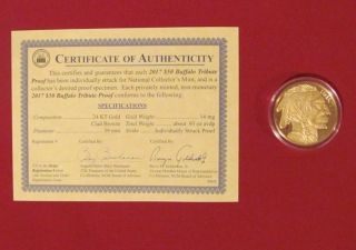 2017 24k Gold $50 Buffalo Proof Coin With Certificate Of Authenticity photo