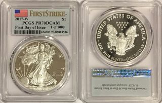 2017 W Proof Silver Eagle Pcgs Pr70 Dcam First Day Of Issue Flag Label 1 Of 1000 photo