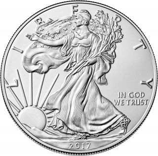 2017 1 Oz.  Silver American Eagle Bu $1 Bullion Coin.  999 Fine One Dollar 986 photo