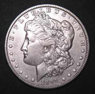 1891 Morgan Dollar $1 90 Silver Coin Sku 399778 photo