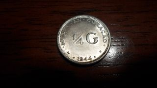 Netherlands East Indies 1944 - 1/4 Gulden Silver Coin - Au photo