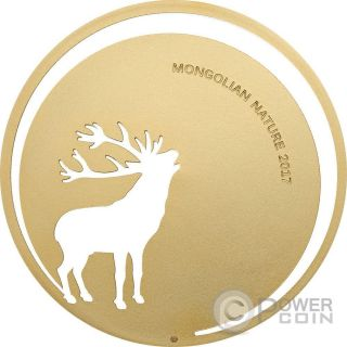 Roaring Deer Mongolian Nature Silver Coin 500 Togrog Mongolia 2017 photo