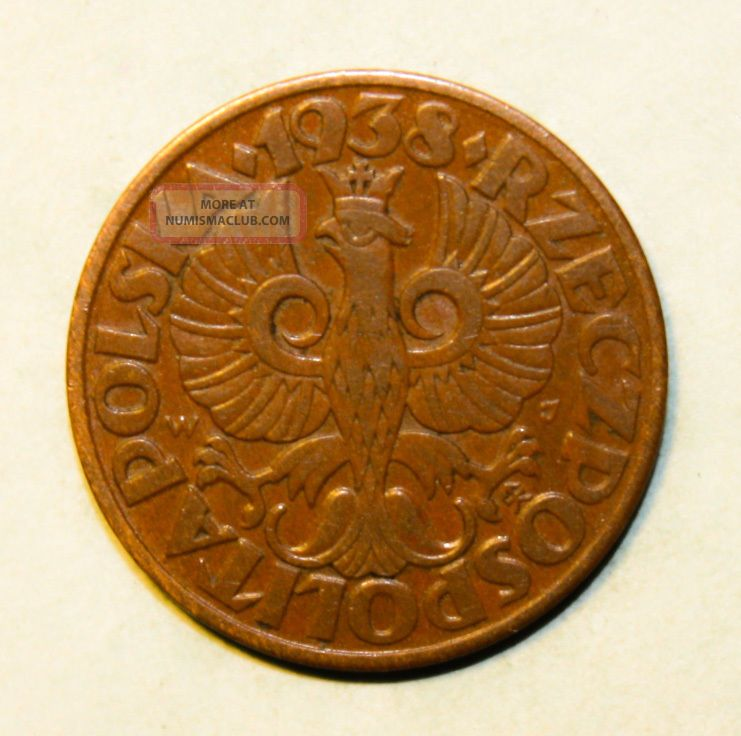 Poland 5 Groszy 1938 Extra Fine,  Bronze Coin - Crowned Eagle With Wings Open Poland photo