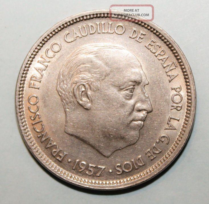 Spain 25 Pesetas 1957 (59) Uncirculated Coin - Franco Spain photo