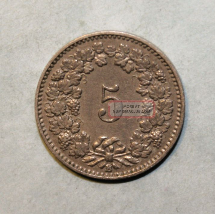 Switzerland 5 Rappen 1899 - B Extremely Fine Coin Europe photo