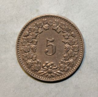 Switzerland 5 Rappen 1899 - B Extremely Fine Coin photo