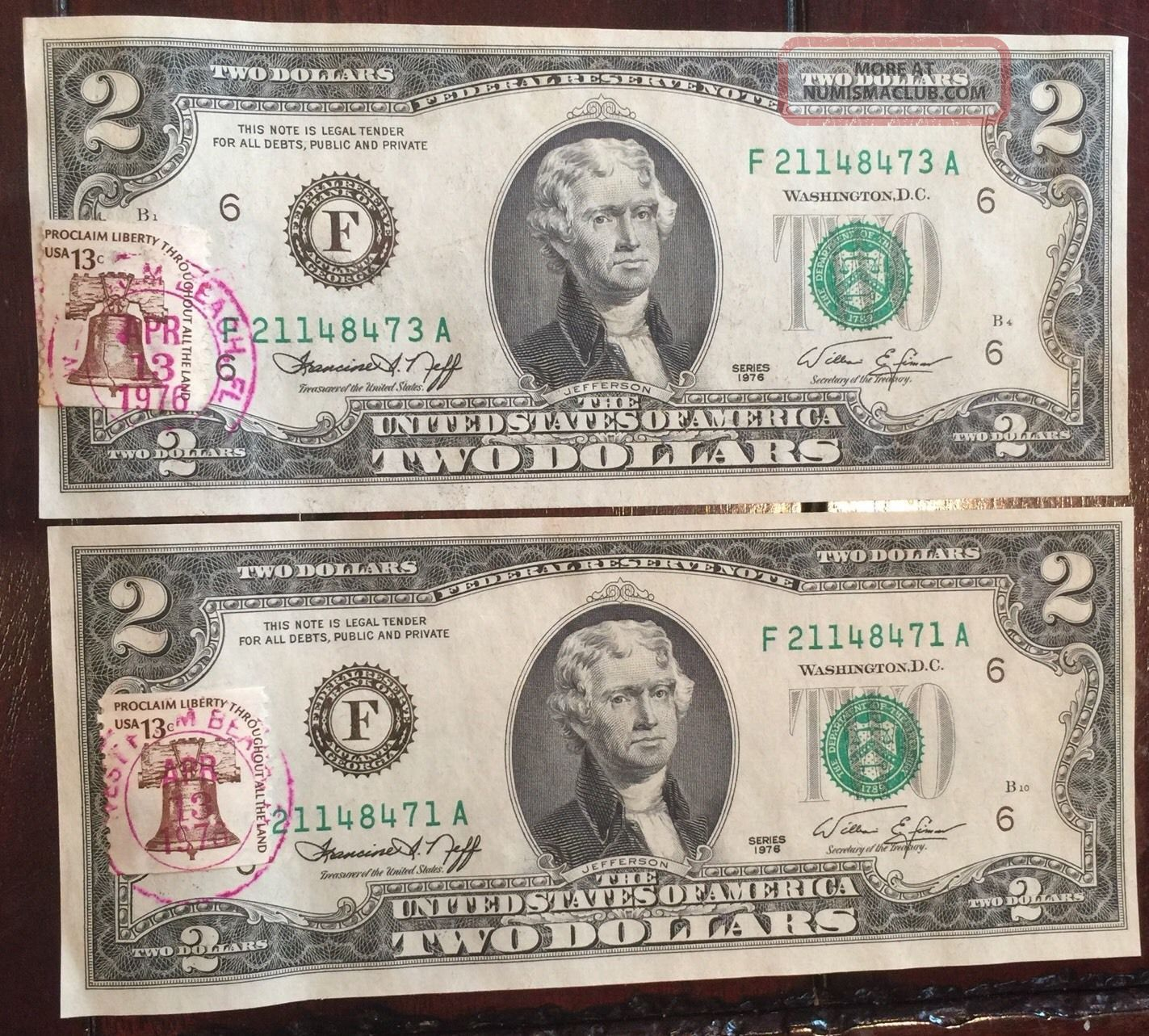 2 -.  $2 Dollar Bills 1976 Uncirculated W/1st Day Of Issue (west Palm Beach Stamp Small Size Notes photo