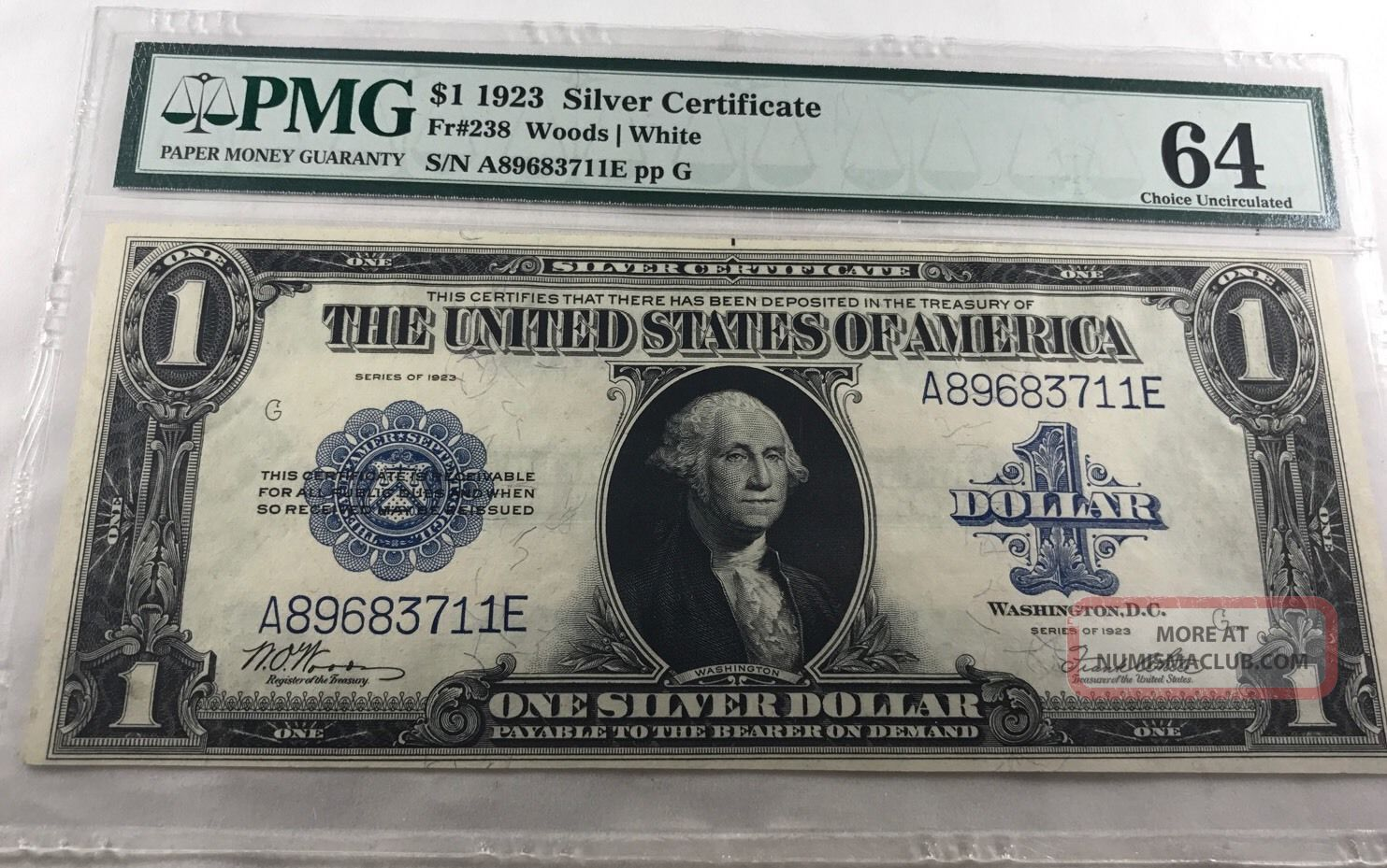 Ac Fr 238 1923 $1 Silver Certificate Pmg 64 Choice Uncirculated Large Size Notes photo