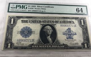 Ac Fr 238 1923 $1 Silver Certificate Pmg 64 Choice Uncirculated photo
