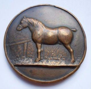 1937 Belgian Horse Contest Prize Bronze Pendant Medal photo