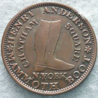 1837 Henry Anderson,  Mammoth Boot,  York,  Hard Times Token Ht - 219,  Low - 107 photo