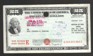 Xl $25 Ww2 War Usa Savings Bond Blevins San Diego California Naval Air Station photo