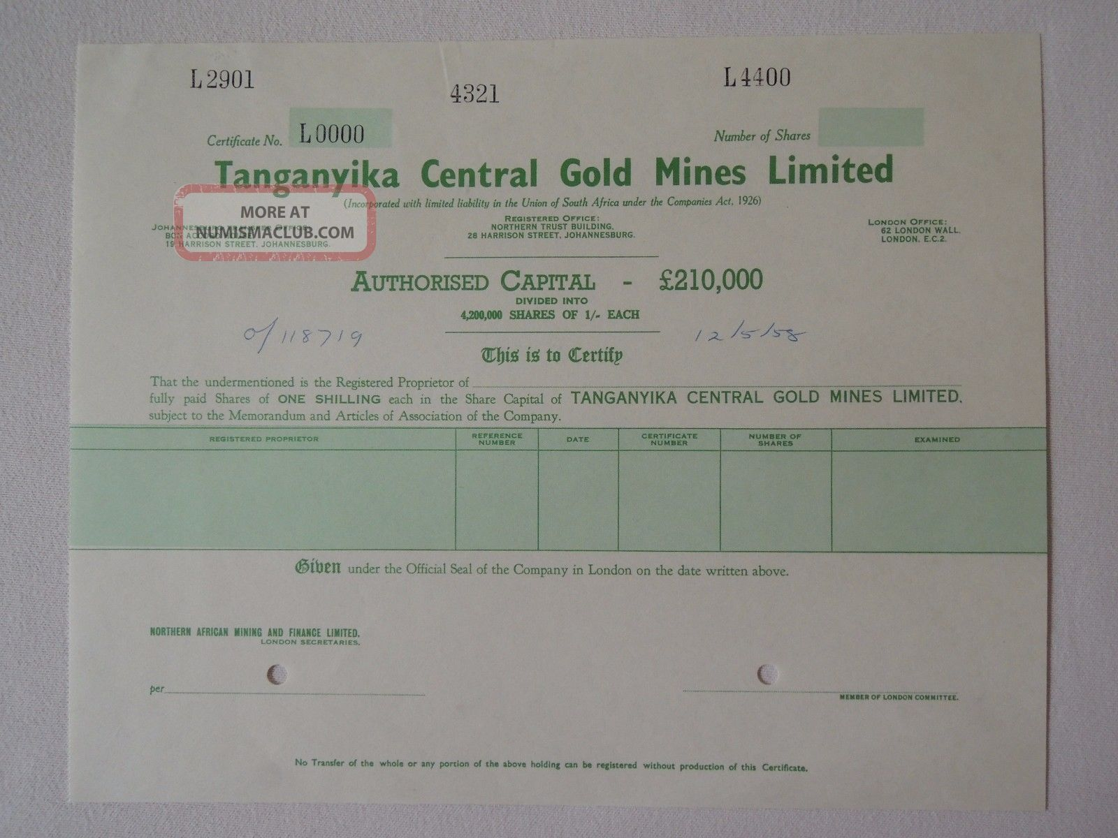 Africa Tanganyika Gb Central Gold Mines Specimen Share 1958 Mining Johannesburg World photo