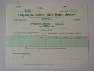 Africa Tanganyika Gb Central Gold Mines Specimen Share 1958 Mining Johannesburg photo