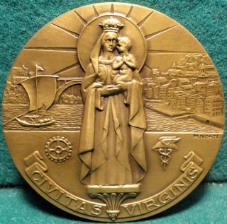 Our Lady Of Vandoma,  Oporto,  Douro River / Coat Arms 78mm Bronze Medal photo