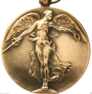 Antique Art Nouveau Victory Angel Of Wwi Bronze Art Medal Pendant By Paul Dubois photo
