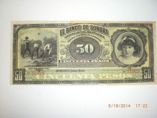 Mexican Revolution Banco De Sonora 50 Pesos Banknote Peso Mexico Currency Money photo