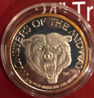 Rare - Chicago Bears Monsters Of The Midway 1 Troy Oz 999 Fine Silver Round photo