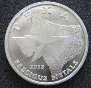 2013 1 Troy Oz.  9999 Silver Texas Round Bu - Cowboy Reverse Abrasions photo