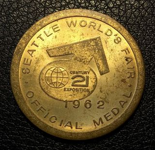 1962 Seattle World ' S Fair 21st Century Exposition Monorail Official Medal photo