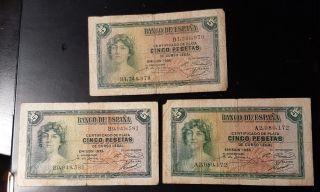 Rare Spain Trio 3 By 5 Pesetas Rare 1935 Black Serials A & B Seria photo