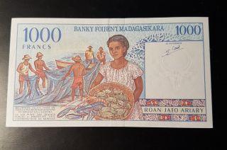 French Madagascar 1000 Francs Unc Crisp Vividly Color 1994 Africa photo