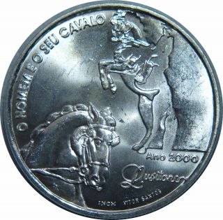 Portugal 1000 Escudos 2000 Km 727a Lusitano Horses And Rider Big Silver /925 C16 photo