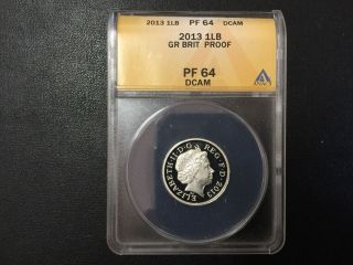 2013 Great Britain One Pound Anacs Pf64dcam Certified Coin photo