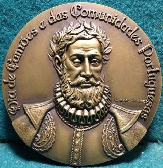 Poet CamÕes / World Map & Wind Rose Display 90mm 1977 Bronze Medal By C Antunes photo