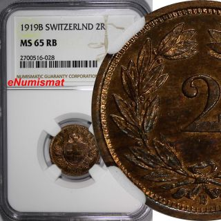 Switzerland Bronze 1919 - B 2 Rappen Ngc Ms65 Rb Lovely Red Toning Km 4.  2 photo