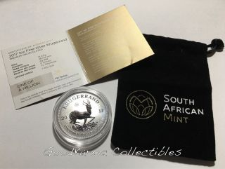 2017 South African 50th Anniv 1st Ever 999 Silver Krugerrand Reverse Proof Unc photo