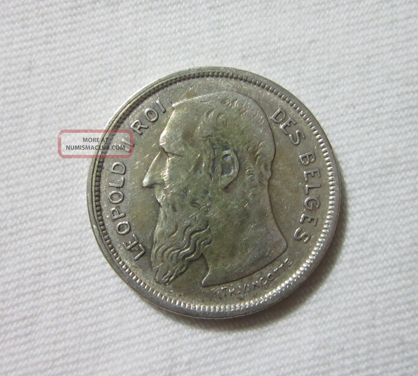 Belgium.  Silver 2 Francs,  1909. Europe photo