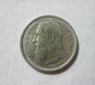 Belgium.  Silver 2 Francs,  1909. photo