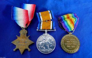 1914 - 1915 Star/british War/victory Medal Trio; 1st Field Company Engineers Aif. photo