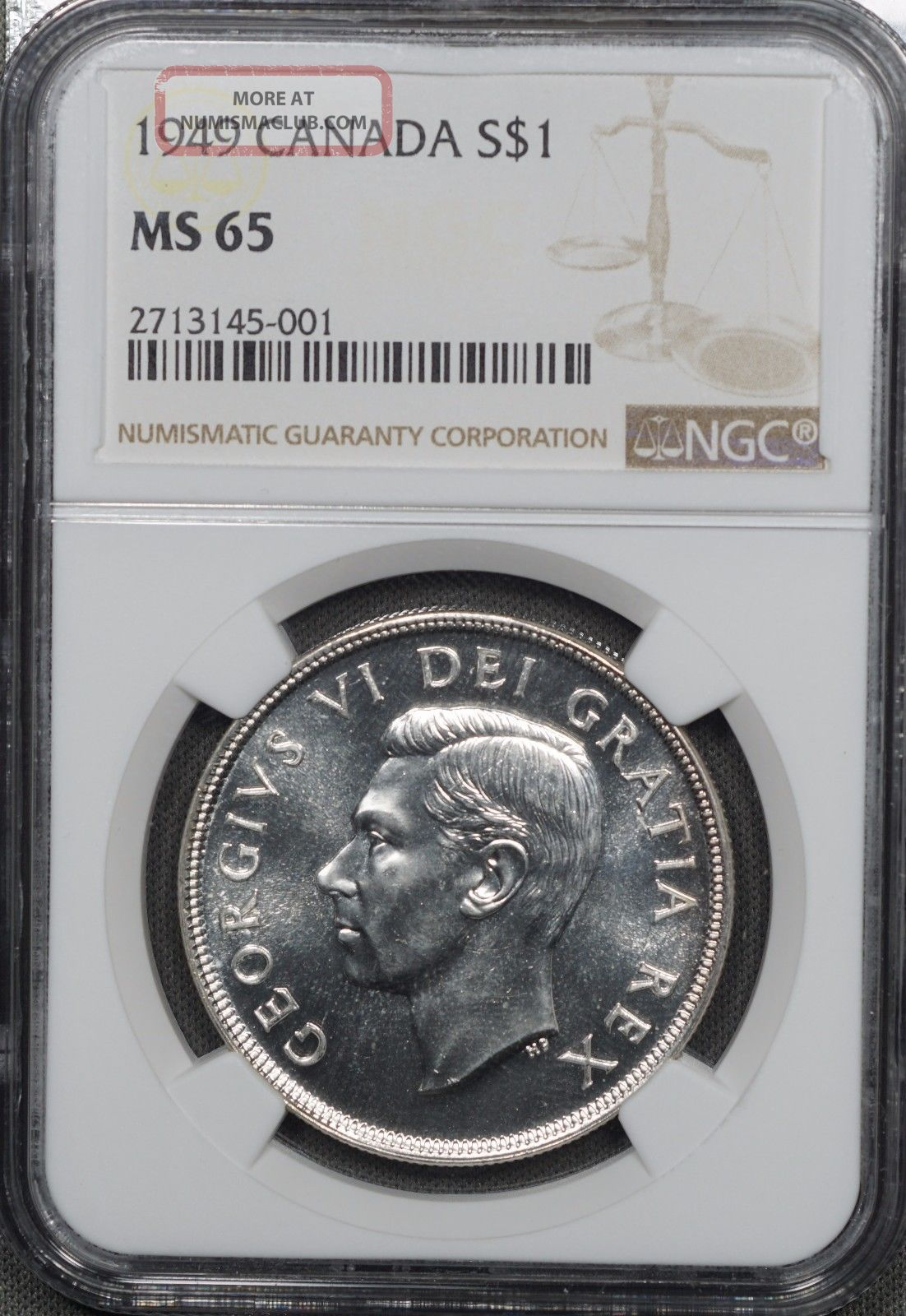 1949 Canada Silver $1,  Ngc Ms65,  Stunning White Gem W/ Prooflike Appearance Km47 Coins: Canada photo