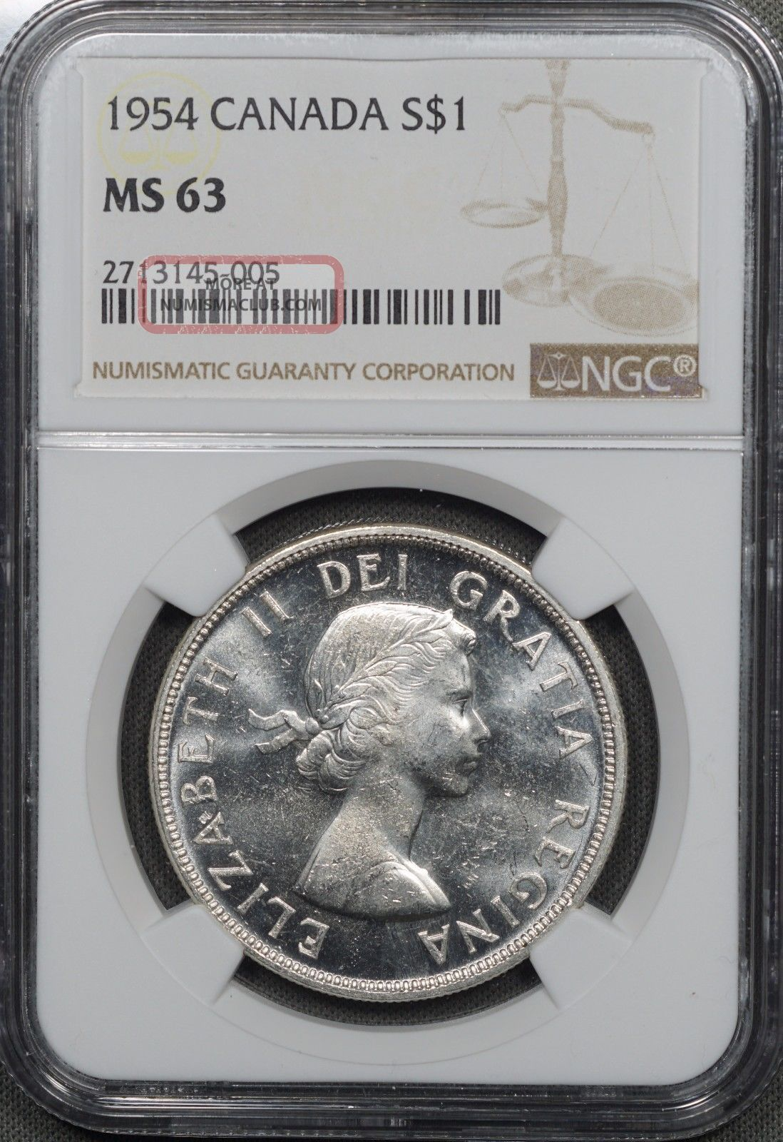 1954 Canada Silver Dollar,  Ngc Ms63 Dollars photo