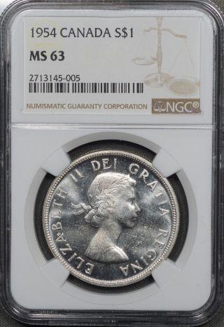 1954 Canada Silver Dollar,  Ngc Ms63 photo