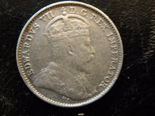 1909 Canada Edward Vii Sterling Silver 5 Cents.  Extra Fine Details (cleaned). photo