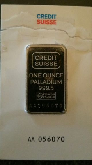 1 Oz Credit Suisse Valcambi Sa.  9995 Palladium Bar photo