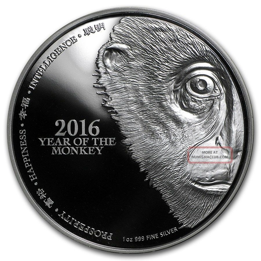 2016 Year Of The Monkey Lunar Silver Coin 1 Oz Silver