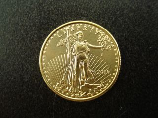 2016 $5 Gold American Eagle 1/10 Oz Bullion Bu Coin Piece photo