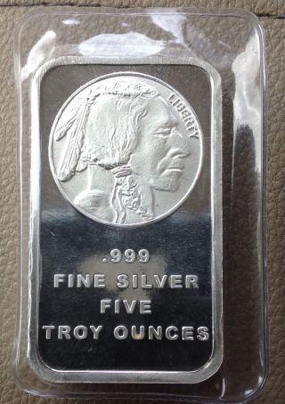 American Buffalo 5 Troy Oz.  999 Fine Silver Bar Silver Town photo
