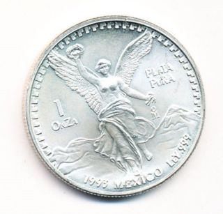 1993 Mexico 1 Oz Silver Onza Libertad Opens At.  99c photo