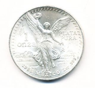 1986 Mexico 1 Oz Silver Onza Libertad Opens At.  99c photo