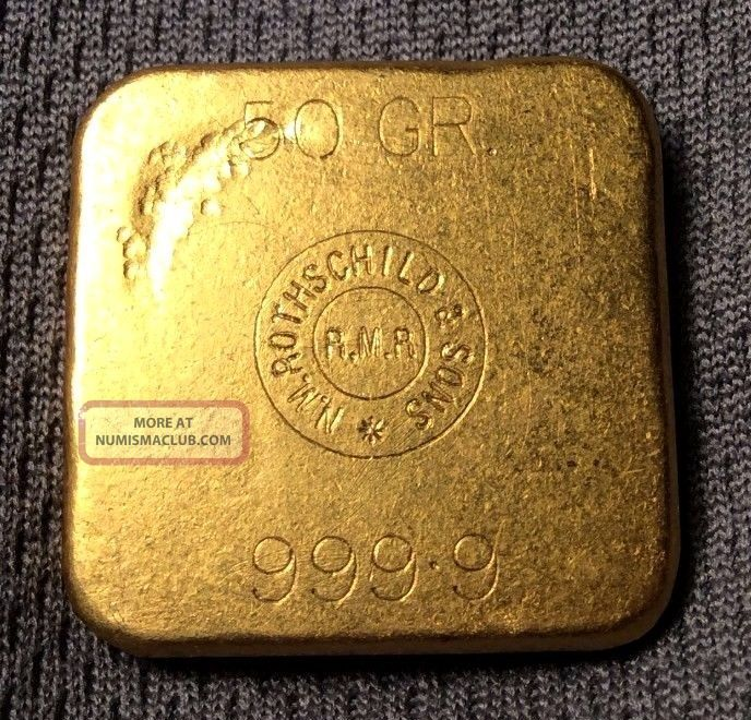 Nm Rothschild Amp Sons 50 Gram Gold Bar Square Matte Finish