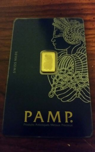 Pamp Suisse 1 Gram.  9999 Gold Bar Fortuna With Assay Certificate photo