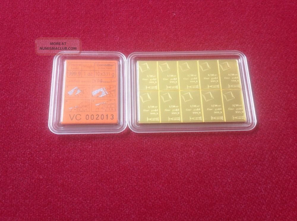 10 X 1/10 Oz Valcambi Suisse.  9999 Fine Gold Combibar 1 Troy Oz Gold photo