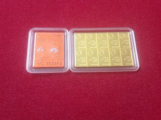 10 X 1/10 Oz Valcambi Suisse.  9999 Fine Gold Combibar 1 Troy Oz photo