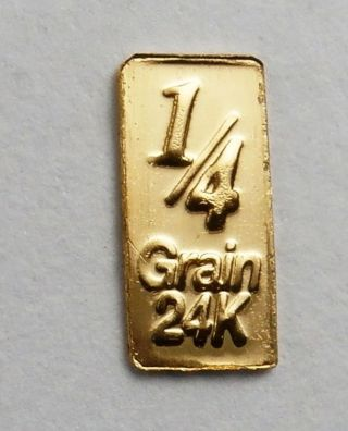 1/60th Of A Gram Pure 24 Carat Pure Gold 999 Fine Bullion Bar Ca27b photo